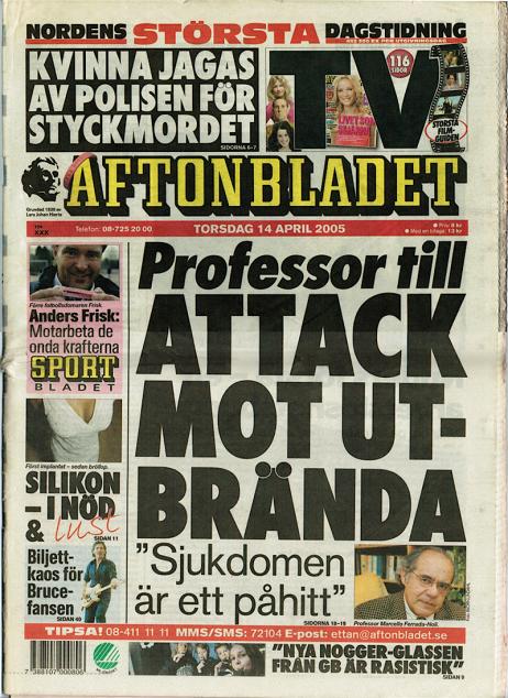 S- Professor till attack mot utbrända - AFTONBLADET first page 14 April 2005 1&0